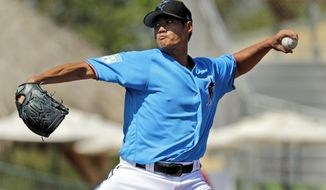 Miami Marlins starting pitcher Wei-Yin Chen throws during the first inning of an exhibition spring training baseball game against the Washington Nationals Monday, March 4, 2019, in Jupiter, Fla. (AP Photo/Jeff Roberson)