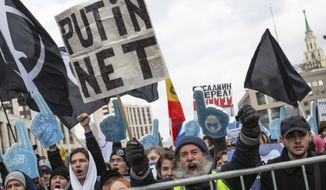 Demonstrators shout during the Free Internet rally in response to a bill making its way through parliament calling for all internet traffic to be routed through servers in Russia — making VPNs (virtual private networks) ineffective, in Moscow, Russia, Sunday, March 10, 2019.Several thousand people have rallied in Moscow to protest legislation that they fear could lead to widespread censorship of the internet for Russian users. (AP Photo/Alexander Zemlianichenko) **FILE**
