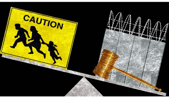Illustration on what's needed to deal with illegal immigration by Alexander Hunter/The Washington Times