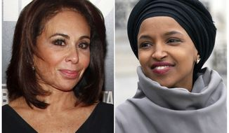 """This combination photo shows Fox News host Jeanine Pirro at the HBO Documentary Series premiere of """"THE JINX: The Life and Deaths of Robert Durst"""" in New York on Jan. 28, 2015, left, and Rep. Ilhan Omar, D-Minn., at a rally outside the Capitol in Washington on March 8, 2019. Omar thanked Fox News on Monday, March 11, for condemning comments made on the network by Pirro centering on the freshman Democrats wearing of a traditional Muslim head covering. Pirro questioned whether Omars wearing a hijab indicated her adherence to Sharia law. (AP Photo)"""