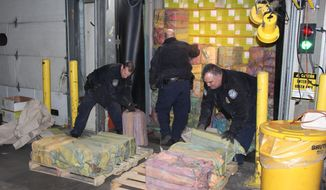 Federal authorities at the Port of New York and New Jersey confiscated 3,200 pounds of cocaine in February from a cargo ship bound for Belgium. Officials said it was the port's biggest cocaine raid in 25 years. (Associated Press)