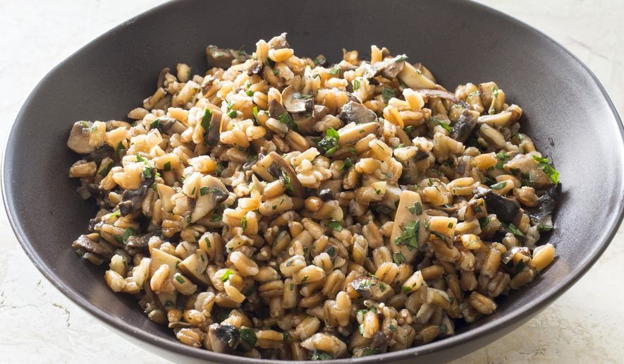 """This undated photo provided by America's Test Kitchen in March 2019 shows Warm Farro With Mushrooms. The recipe appears in """"The Complete Diabetes Cookbook."""" (Carl Tremblay/America's Test Kitchen via AP)"""