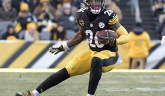 FILE - In this Sunday, Jan. 14, 2018 file photo, Pittsburgh Steelers running back Le'Veon Bell carries the ball against the Jacksonville Jaguars during the second half of an NFL divisional football AFC playoff game in Pittsburgh. Defense is the area with the most depth in this year's free agency class, Monday, March 11, 2019. (AP Photo/Don Wright) ** FILE **