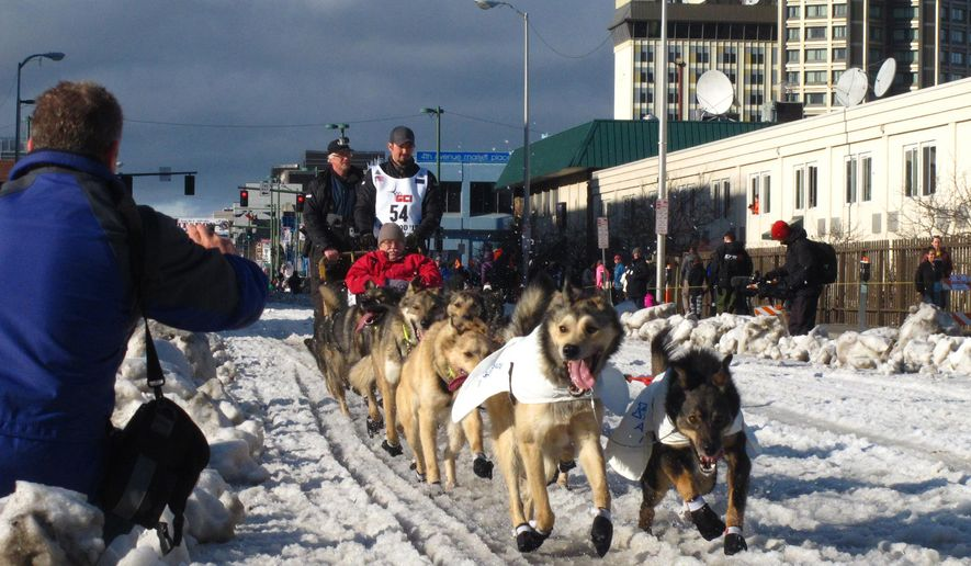 FILE - In this March 7, 2015, file photo, musher Peter Kaiser, of Bethel, Alaska, leads his team past spectators during the ceremonial start of the Iditarod Trail Sled Dog Race, in Anchorage, Alaska. There's a new leader in the Iditarod Trail Sled Dog Race after the dogs on musher Nicolas Petit's team quit on him. Alaska musher Pete Kaiser passed Petit and was the first musher to reach the checkpoint in Koyuk Monday, March 11, 2019. (AP Photo/Rachel D'Oro, File)