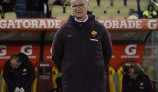 New Roma coach Claudio Ranieri enters the field prior to an Italian Serie A soccer match between Roma and Empoli, at the Olympic stadium in Rome, Monday, March 11, 2019. (AP Photo/Gregorio Borgia)