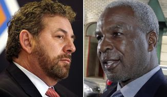 "FILE - At left, in a March 18, 2014, file photo, James Dolan, executive chairman of Madison Square Garden, listens to a question at a news conference, in New York. At right, in an April 11, 2017, file photo, former New York Knicks basketball player Charles Oakley talks to the press after an appearance in Manhattan Criminal Court, in New York. New York Knicks great Charles Oakley is tired of ""bully"" team owner James Dolan threatening to ban fans from Madison Square Garden. Oakley, the former NBA enforcer and rebounding machine with the Knicks, said Dolan was wrong to mouth off at a fan who encouraged him to sell the team during a loss at MSG. (AP Photo/File)"