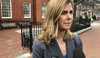 Anne Arundel County State's Attorney Anne Colt Leitess talks to reporters after a court hearing on Monday, March 11, 2019, in Annapolis, Md., for Jarrod Ramos, who is charged with killing five people at The Capital Gazette newspaper office in June 2018. (AP Photo/Brian Witte)