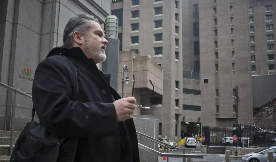 """Jack Donson, president of New York-based My Federal Prison Consultant and a retired federal Bureau of Prisons employee, outside federal court and Manhattan Correctional Center, right, where he's consulted with inmate clients, Friday March 1, 2019, in New York. Donson welcomes recent criminal indictments exposing shady dealings in the largely unregulated industry of """"prison consultants."""" (AP Photo/Bebeto Matthews)"""