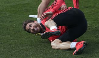 Real Madrid's Sergio Ramos attends a training session at the team's Valdebebas training ground in Madrid, Spain, Monday, March 4, 2019. Real Madrid will play against Ajax in a Champions League soccer match on Tuesday. (AP Photo/Manu Fernandez)