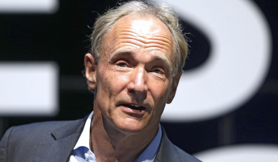 In this Tuesday, June 23, 2015, file photo, English computer scientist Tim Berners-Lee, best known as the inventor of the World Wide Web, attends the Cannes Lions 2015, International Advertising Festival in Cannes, southern France. Berners-Lee implemented the first successful communication between a Hypertext Transfer Protocol (HTTP) client and server via the Internet. (AP Photo/Lionel Cironneau, File)