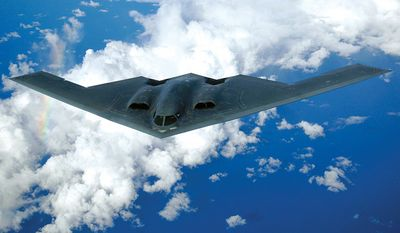 Northrop Grumman B-2 Spirit, also known as the Stealth Bomber, is an American heavy strategic bomber, featuring low observable stealth technology designed for penetrating dense anti-aircraft defenses; it is a flying wing design with a crew of two. The bomber can deploy both conventional and thermonuclear weapons, such as eighty 500 lb class (Mk 82) JDAM Global Positioning System-guided bombs, or sixteen 2,400 lb B83 nuclear bombs. The B-2 is the only acknowledged aircraft that can carry large air-to-surface standoff weapons in a stealth configuration. Twenty B-2s are in service with the United States Air Force, which plans to operate them until 2032. The B-2 is capable of all-altitude attack missions up to 50,000 feet, with a range of more than 6,000 nautical miles on internal fuel and over 10,000 nautical miles with one midair refueling. It entered service in 1997 as the second aircraft designed to have advanced stealth technology after the Lockheed F-117 Nighthawk attack aircraft. Though designed originally as primarily a nuclear bomber, the B-2 was first used in combat dropping conventional, non-nuclear ordnance in the Kosovo War in 1999. It later served in Iraq, Afghanistan, and Libya. (U.S. Air Force photo/Staff Sgt. Bennie J. Davis III)