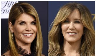This combination photo shows actress Lori Loughlin at the Women's Cancer Research Fund's An Unforgettable Evening event in Beverly Hills, Calif., on Feb. 27, 2018, left, and actress Felicity Huffman at the 70th Primetime Emmy Awards in Los Angeles on  Sept. 17, 2018. Loughlin and Huffman are among at least 40 people indicted in a sweeping college admissions bribery scandal. Both were charged with conspiracy to commit mail fraud and wire fraud in indictments unsealed Tuesday in federal court in Boston. (AP Photo) ** FILE **