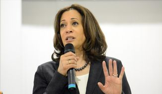 In this March 9, 2019, file photo, Sen. Kamala Harris, D-Calif., speaks during an event in St. George, S.C. (AP Photo/Meg Kinnard) ** FILE **
