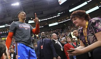 Oklahoma City Thunder's Russell Westbrook gets into a heated verbal altercation with fans in the first half of an NBA basketball game against the Utah Jazz, Monday, March 11, 2019, in Salt Lake City. (AP Photo/Rick Bowmer) **FILE**