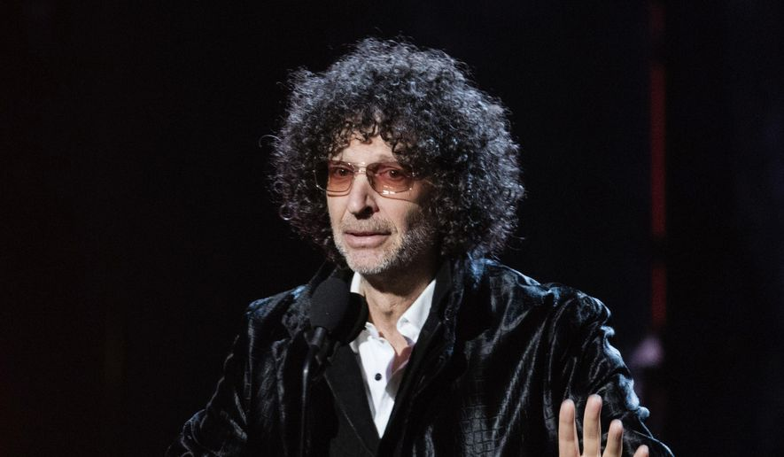 Howard Stern speaks at the 2018 Rock and Roll Hall of Fame Induction Ceremony in Cleveland, April 14, 2018. (Photo by Michael Zorn/Invision/AP) ** FILE **
