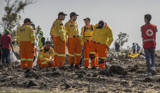 Investigators from Israel examine wreckage at the scene where the Ethiopian Airlines Boeing 737 Max 8 crashed shortly after takeoff on Sunday killing all 157 on board, near Bishoftu, or Debre Zeit, south of Addis Ababa, in Ethiopia Tuesday, March 12, 2019. Ethiopian Airlines had issued no new updates on the crash as of late afternoon Tuesday as families around the world waited for answers, while a global team of investigators began picking through the rural crash site. (AP Photo/Mulugeta Ayene)