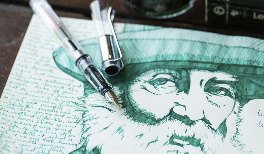 This undated photo provided by the Goulet Pen Company shows a LAMY Vista fountain pen and drawing made with the pen by Adam Schultz. In our computerized age, the old-fashioned fountain pen _ all jazzed up _ is making a surprise comeback. (Sarah Mattozzi/The Goulet Pen Company via AP)