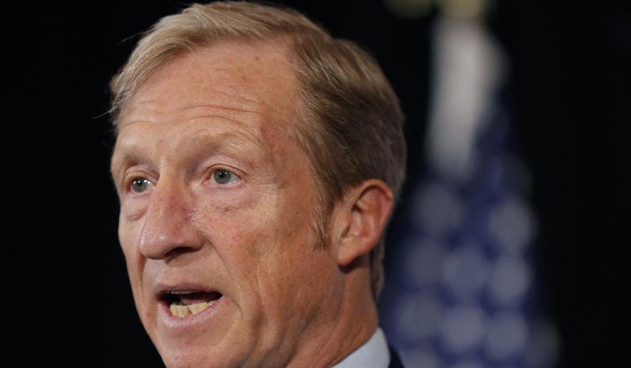 In a Wednesday, Jan. 9, 2019, photo, billionaire investor and Democratic activist Tom Steyer speaks during a news conference at the Statehouse in Des Moines, Iowa. Steyer is bringing his call for impeachment proceedings against President Donald Trump back to South Carolina. Steyer says South Carolinians can push the issue with the Democratic hopefuls streaming into the state, home of the first southern primary. (AP Photo/Charlie Neibergall) **FILE**