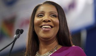 In this Jan. 6, 2019, file photo, New York Attorney General Letitia James smiles during an inauguration ceremony in New York. (AP Photo/Seth Wenig, File)
