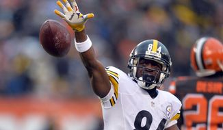 FILE- In this Jan. 3, 2016, file photo, Pittsburgh Steelers wide receiver Antonio Brown (84) reacts after a first down catch during the first half of an NFL football game against the Cleveland Browns, in Cleveland. Brown has caught a lot of criticism for orchestrating his departure from Pittsburgh, and landing a hefty pay raise as part of the deal. Maybe, if the contracts were fully guaranteed, stars such as Brown wouldn't have to go to such lengths to make sure they're compensated fairly. (AP Photo/David Richard, File)