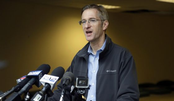 In this Jan. 17, 2017, file photo, Portland Mayor Ted Wheeler speaks during a news conference in Portland, Ore.  Wheeler is criticizing how local prosecutors and his own Police Bureau handle street violence among political factions that frequently clash on the city's streets. In a news conference Monday, March 11, 2019,  Wheeler called for a change to rules and laws if they do not allow police officers to arrest brawlers and vowed that anyone fighting on Portland streets will not escape unpunished. (AP Photo/Don Ryan, File)