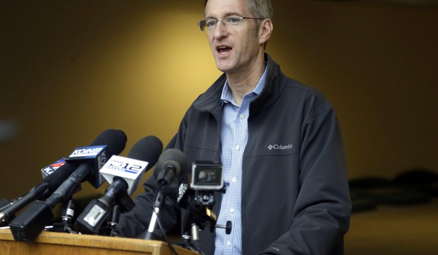 FILE - In this Jan. 17, 2017, file photo, Portland Mayor Ted Wheeler speaks during a news conference in Portland, Ore.  Wheeler is criticizing how local prosecutors and his own Police Bureau handle street violence among political factions that frequently clash on the city's streets. In a news conference Monday, March 11, 2019,  Wheeler called for a change to rules and laws if they do not allow police officers to arrest brawlers and vowed that anyone fighting on Portland streets will not escape unpunished. (AP Photo/Don Ryan, File)