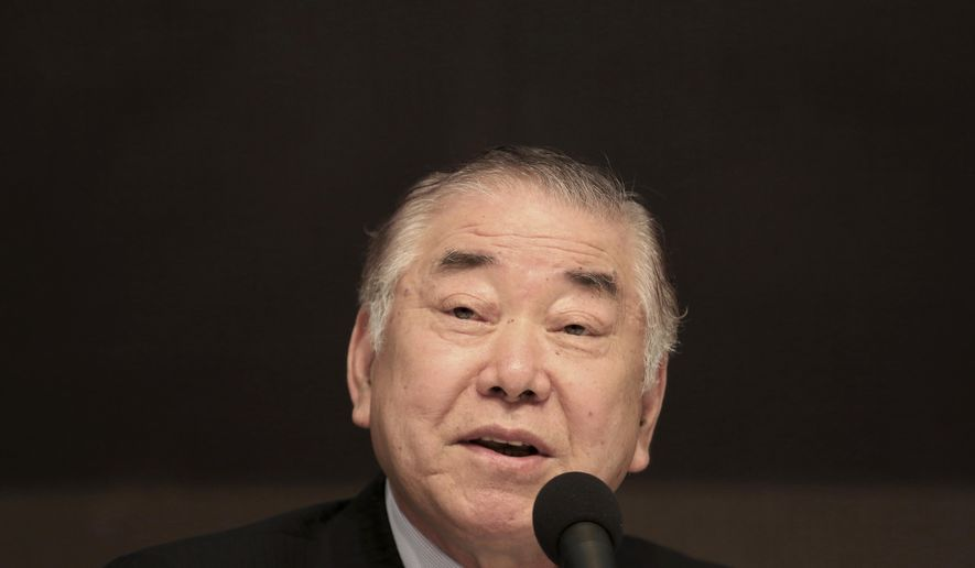 "Moon Chung-in, a special adviser to South Korean President Moon Jae-in, speaks during a forum hosted by the Kwanhun Club in Seoul, South Korea, Tuesday, March 12, 2019. Moon says a possible North Korean rocket launch would cause a ""catastrophic"" consequence for diplomacy on the North's nuclear program. (AP Photo/Ahn Young-joon)"