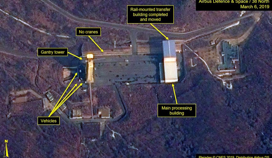 "FILE - In this file image provided by Airbus Defence & Space and 38 North via a satellite image from CNES which was captured on March 6, 2019, shows the Sohae Satellite Launch Facility in Tongchang-ri, North Korea. North Korea must not use a possible rocket launch as leverage in negotiations with the U.S, a special South Korean presidential adviser said Tuesday, March 12, 2019, saying such a move could be ""catastrophic"" for global diplomacy on its nuclear program. (Defence & Space and 38 North via AP, File)"
