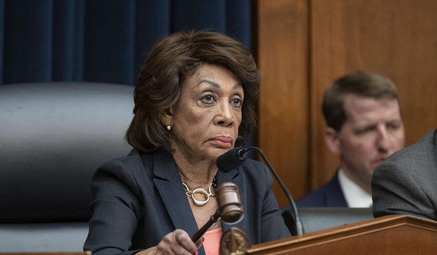 House Financial Services Committee Chair Rep. Maxine Waters, D-Calif., leads a hearing with Wells Fargo CEO Timothy Sloan who was questioned about revelations the bank had created millions of fake bank accounts to reach their financial goals, on Capitol Hill in Washington, Tuesday, March 12, 2019. (AP Photo/J. Scott Applewhite) ** FILE **
