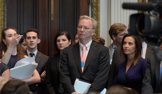 Former Google executive and billionaire Eric Schmidt, who was a major donor and informal presidential adviser to Barack Obama, is heading a the National Security Commission on Artificial Intelligence, a new panel led by Democrats. (Associated Press/File)