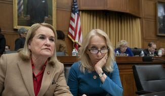 Rep. Sylvia Garcia, D-Texas, left, and Rep. Mary Gay Scanlon, D-Pa., confer as House Judiciary Committee works on the reauthorization of the Violence Against Women Act which provides funding for programs that tackle domestic abuse, on Capitol Hill in Washington, Wednesday, March 13, 2019. (AP Photo/J. Scott Applewhite) ** FILE **