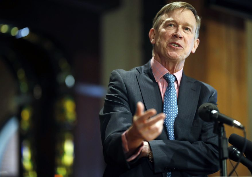 In this March 6, 2019, file photo, former Colorado Gov. John Hickenlooper speaks in lower downtown Denver. Generations of presidential candidates have made promises to work across the aisle. But as the 2020 campaign kicks into high gear, some Democrats say they have little interest in talk of cross-party cooperation.  (AP Photo/David Zalubowski)