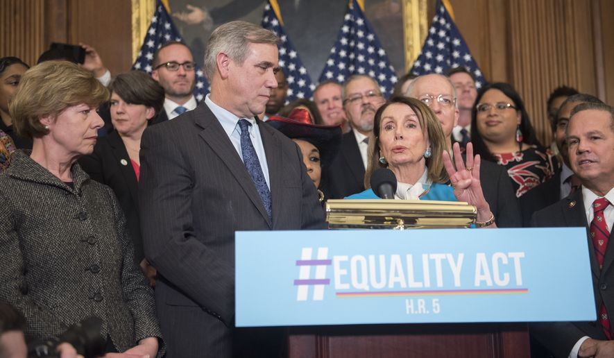 IMAGE DISTRIBUTED FOR HUMAN RIGHTS CAMPAIGN -  Speaker Nancy Pelosi, D-Calif., speaks during the Equality Act Re-Introduction news conference in the Capitol on Wednesday, March 13, 2019 in Washington. (Kevin Wolf/AP Images for Human Rights Campaign)