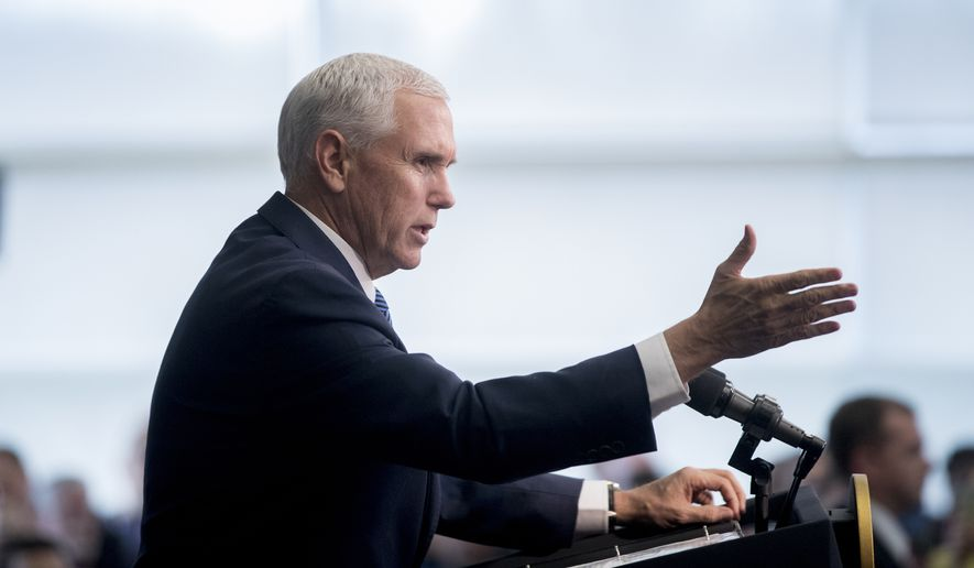Vice President Mike Pence speaks to Customs and Border Patrol agents and agents-in-training at the U.S. Customs and Border Protection Advanced Training Facility in Harpers Ferry, W.Va. Wednesday, March 13, 2019. (AP Photo/Andrew Harnik) ** FILE **