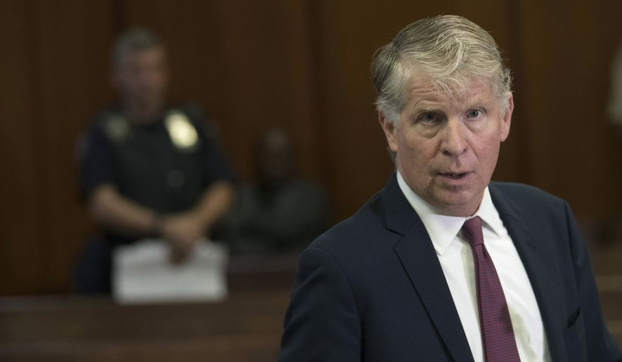 Manhattan District Attorney, Cyrus Vance, Jr., speaks to reporters after a hearing in Manhattan criminal court in New York. After being sentenced in federal court in Washington D.C. earlier in the day, Wednesday, March 13, 2019, Paul Manafort was also charged Wednesday with mortgage fraud, conspiracy and other counts in a new indictment in New York City. The state charges appear at least partly designed to guard against the possibility that he could be pardoned by President Donald Trump and freed early on his federal convictions. The presidential power does not extend to state charges. (AP Photo/Mary Altaffer, File)