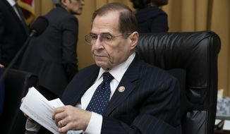 "House Judiciary Committee Chairman Jerrold Nadler, D-N.Y., works on a bill to tackle domestic abuse, on Capitol Hill in Washington, Wednesday, March 13, 2019. Former acting-Attorney General Matthew Whitaker will meet behind closed doors with Nadler and the panel's top Republican, Doug Collins of Georgia, to clarify testimony he gave last month, answers which Nadler said were ""unsatisfactory, incomplete or contradicted by other evidence."" (AP Photo/J. Scott Applewhite) **FILE**"