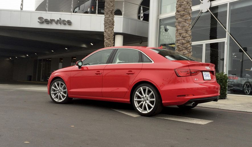 This photo provided by Edmunds shows an Audi A3 getting maintenance at a dealership in Fresno, Calif. The advantage of a manufacturer prepaid maintenance program is that any franchised new-car dealership selling the brand will honor it. (Edmunds via AP)