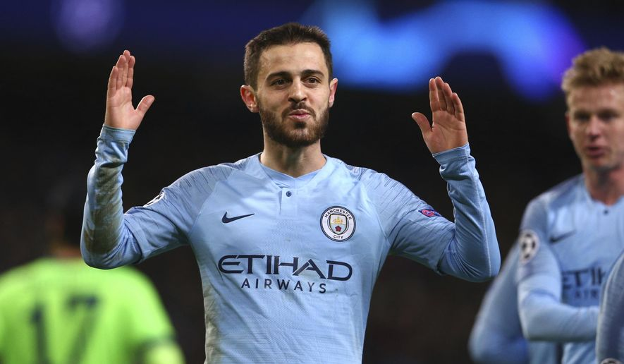 Manchester City's Bernardo Silva celebrates after scoring his side's fifth goal during the Champions League round of 16 second leg, soccer match between Manchester City and Schalke 04 at Etihad stadium in Manchester, England, Tuesday, March 12, 2019. (AP Photo/Dave Thompson)