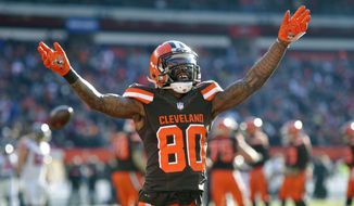 FILE - In this Nov. 11, 2018, file photo, Cleveland Browns wide receiver Jarvis Landry reacts in the second half of an NFL football game against the Atlanta Falcons, in Cleveland. No longer a punching bag, the Browns are punching back.(AP Photo/David Richard, File)