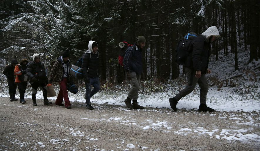 """FILE - In this Nov. 28, 2018 file photo, a group of migrants moves through a forest in the Pljesevica Mountain in a attempt to illegally cross the border into Croatia. Amnesty International released a report on Wednesday, March 13, 2019, that accuses European Union nations of complacency in the """"systematic, unlawful and frequently violent pushbacks"""" by Croatian border guards of thousands of asylum-seekers to squalid and unsafe refugee camps in Bosnia. (AP Photo/Amel Emric, File)"""