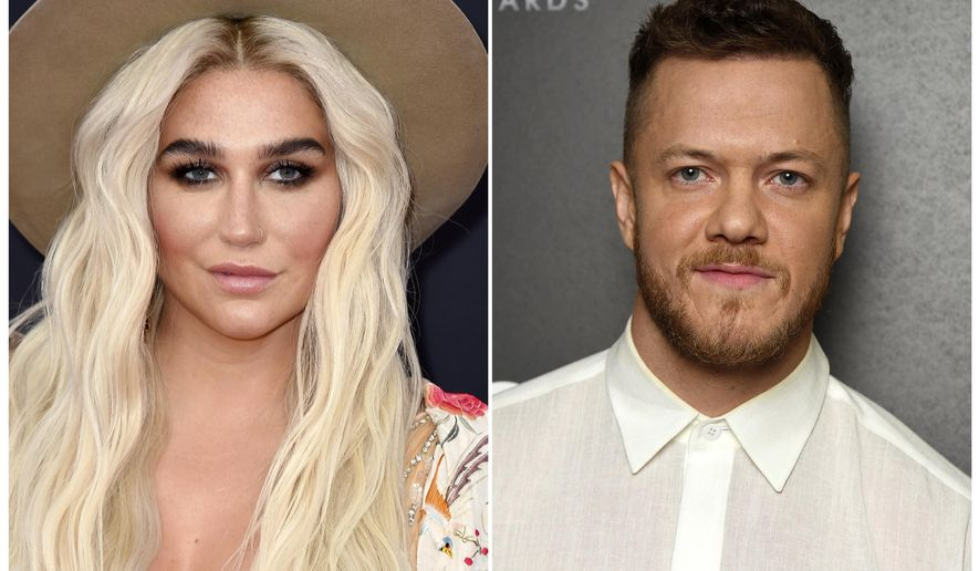 This combination photo shows musicians Kesha, left, and Dan Reynolds of Imagine Dragons. Kesha will headline the LOVELOUD Festival, the LGBTQ+ event founded by Reynolds. The festival will be held on June 29, 2019, at the USANA Amphitheatre in West Valley City, Utah. (AP Photo)