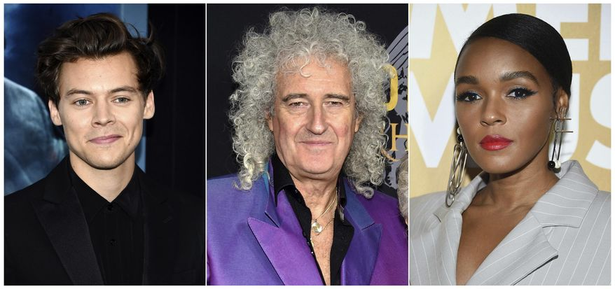This combination photo shows Harry Styles, from left, Brian May and Janelle Monae, who will presenting at the 2019 Rock & Roll Hall of Fame induction ceremony on March 29. Styles will induct Stevie Nicks, May will induct Def Leppard and Monae will induct Janet Jackson. (AP Photo)