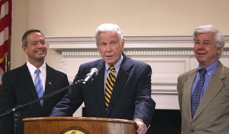 In this Dec. 19, 2011 file photo, former Maryland Gov. Harry Hughes, center, joins Gov. Martin O'Malley, left, and former Gov. Parris Glendening, right,  in Annapolis. Hughes, who prided himself on restoring public faith in the political process, has died. He was 92. In a statement on Hughes' passing Gov. Larry Hogan said Wednesday, March 13, 2019  that flags will be flown at half-staff until sunset of the day of interment. (AP Photo/Brian Witte, File) **FILE**