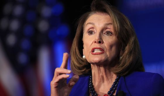 House Speaker Nancy Pelosi of Calif., speaks at an Economic Club of Washington luncheon gathering in Washington, Friday, March 8, 2019. (AP Photo/Manuel Balce Ceneta) ** FILE **