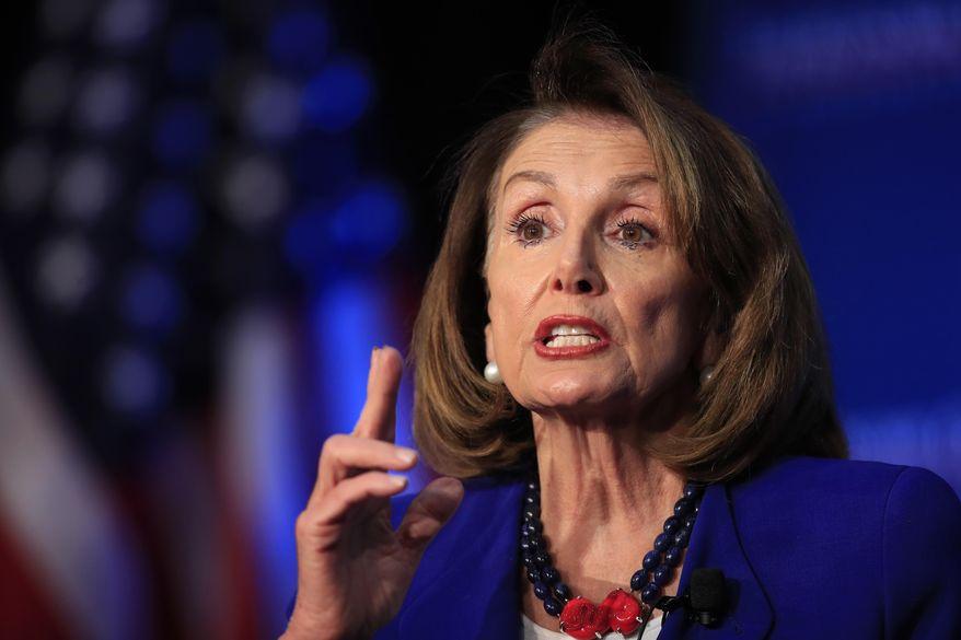 House Speaker Nancy Pelosi of Calif., speaks at an Economic Club of Washington luncheon gathering in Washington, Friday, March 8, 2019. (AP Photo/Manuel Balce Ceneta) ** FILE **