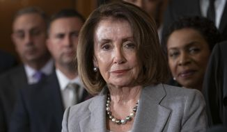 Speaker of the House Nancy Pelosi, D-Calif., is shown in a March 2019 file photo. A group of progressive activists have dedicated themselves throughout August 2019 to pressing reluctant Democrats in the House to push for impeaching President Trump, a move Mrs. Pelosi has been cool to under mounting interest from the party's activist base. (AP Photo/J. Scott Applewhite)  **FILE**