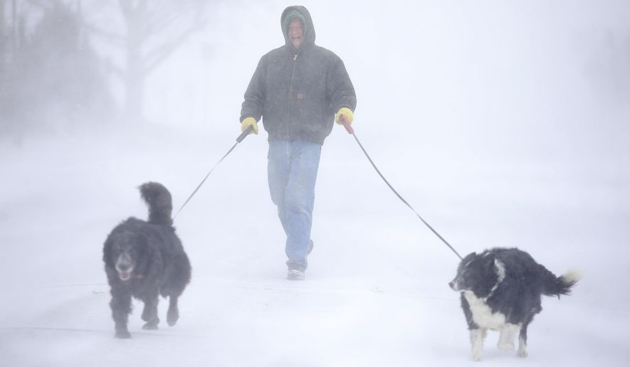 Tom Skaar of Cheyenne laughs while walking his dogs on House Avenue during a blizzard on Wednesday, March 13, 2019, in Cheyenne, Wyo. White-out conditions closed I-80, I-25, and U.S. 85, effectively closing off the state capital from Nebraska, Colorado and the rest of Wyoming. (Jacob Byk/The Wyoming Tribune Eagle via AP)