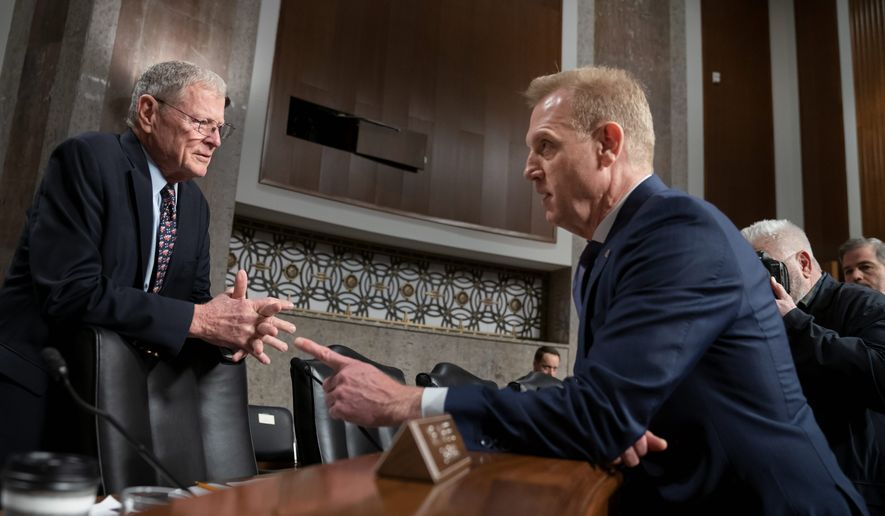 Senate Armed Services Committee Chairman James M. Inhofe (left), Oklahoma Republican, welcomed acting Defense Secretary Patrick M. Shanahan to his first appearance on Capitol Hill since assuming the job Jan. 1. (Associated Press)