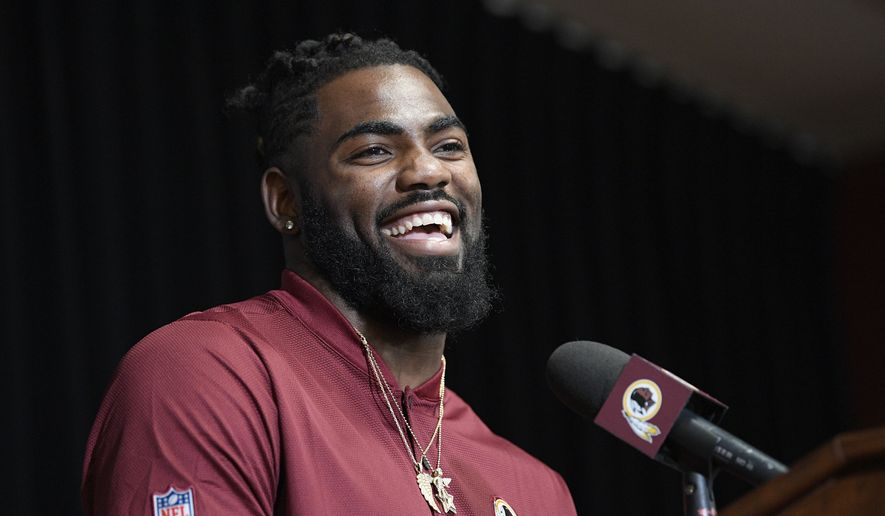 New Washington Redskins safety Landon Collins smiles during an NFL football press conference, Thursday, March 14, 2019, in Ashburn, Va. (AP Photo/Nick Wass) ** FILE **
