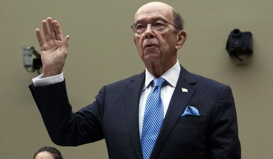 Commerce Secretary Wilbur Ross is sworn-in during the House Oversight Committee hearing on Capitol Hill in Washington, Thursday, March 14, 2019. (AP Photo/Jose Luis Magana)